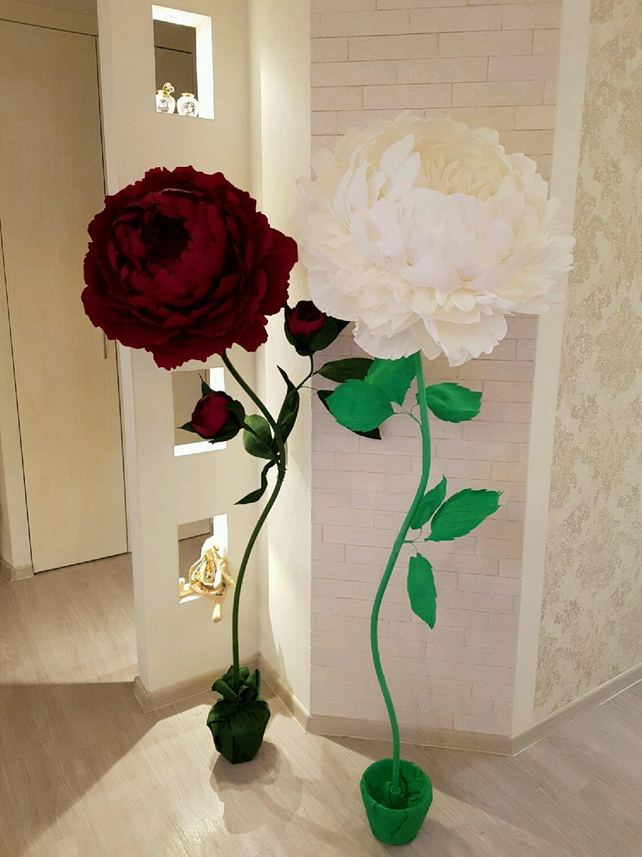 Белые цветы на ножке из бумаги своими руками 94