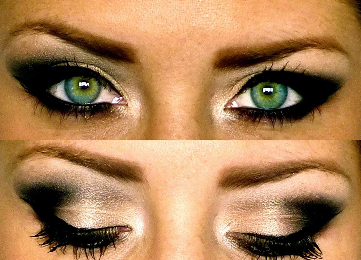 Как сделать макияж смоки айс с зелеными  333