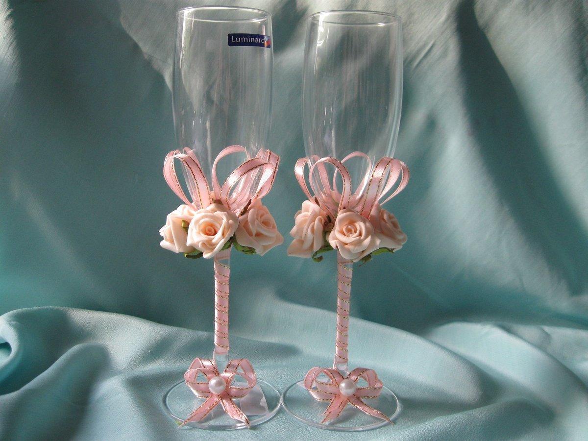 Украшение свадебных бокалов своими руками Свадебный 63