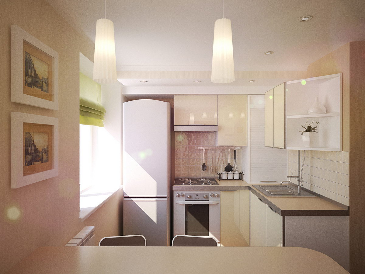 Дизайн кухни хрущевки в светлых тонах