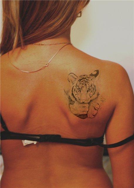 Тату тигра для девушек на лопатке
