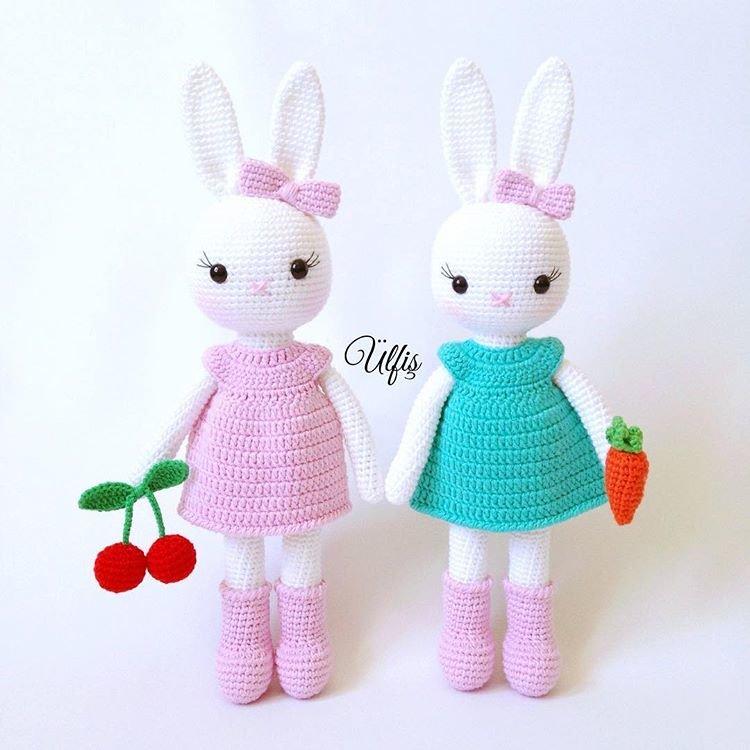 Урок вязание зайца с крючками