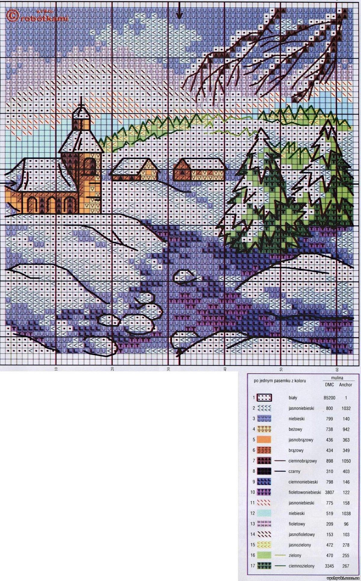Схемы для вышивок крестом пейзажи 767