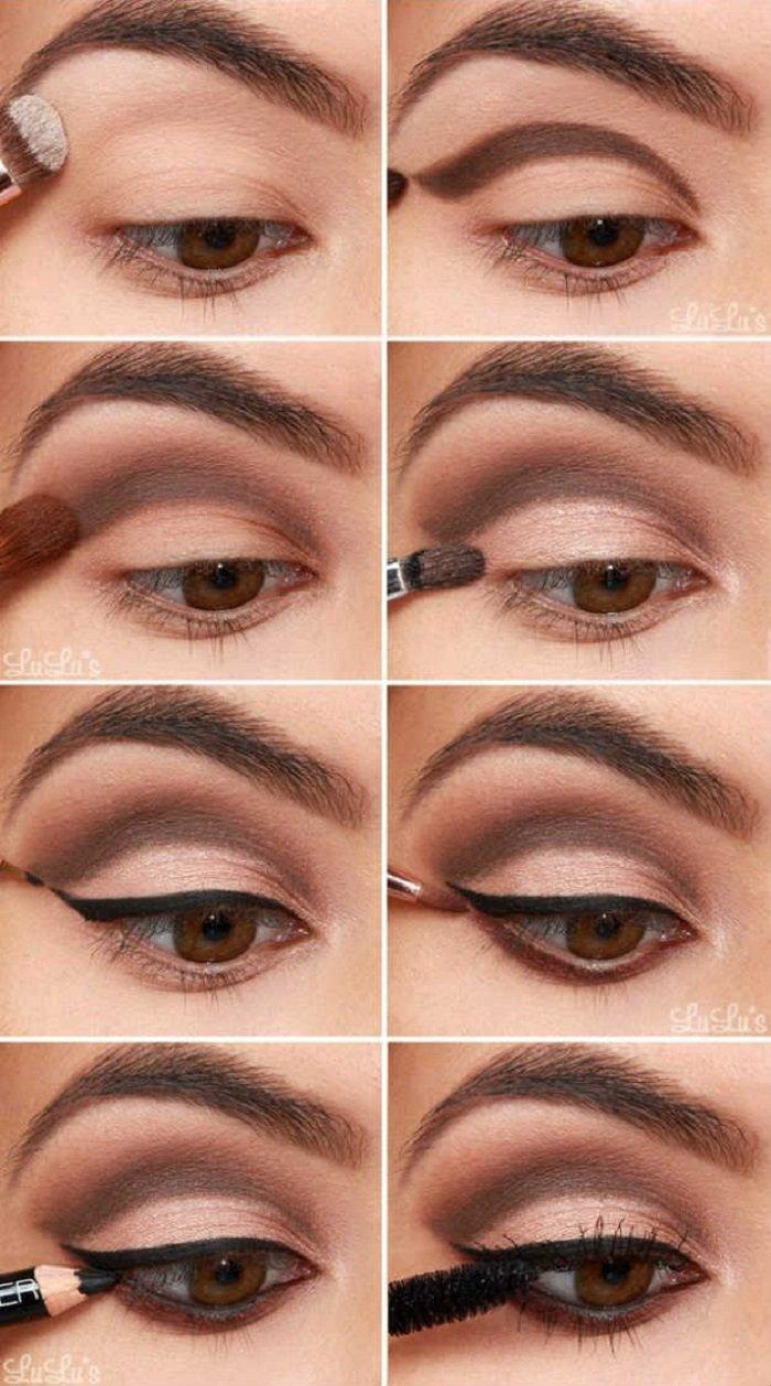 Красивый макияж с коричневыми тенями фото