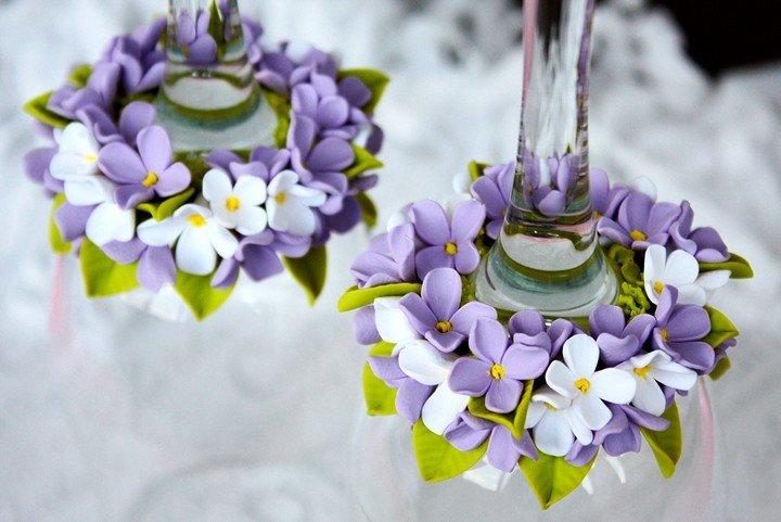 Цветы из полимерной глины на фужер мастер класс с пошаговым фото