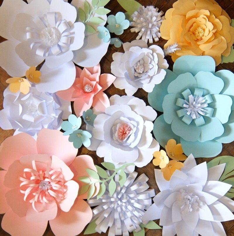 Цветы из бумаги для оформления зала шаблоны 6