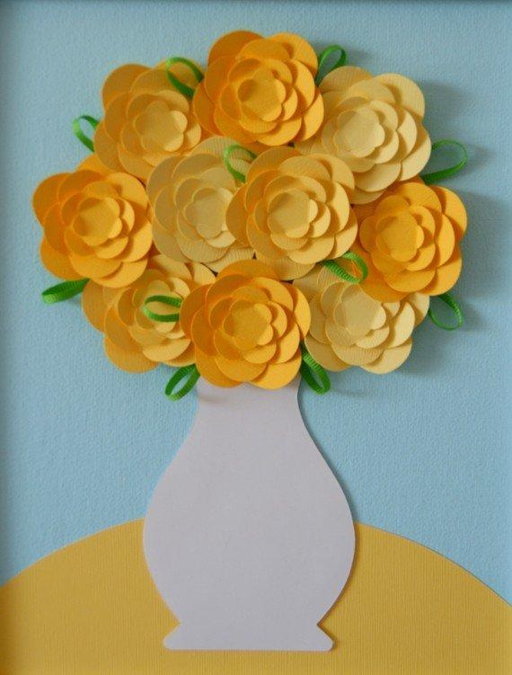 Цветы из цветной бумаги для панно