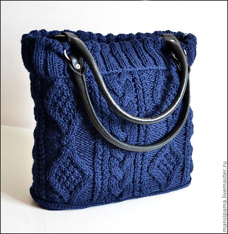 Вязанные сумки своими руками спицами