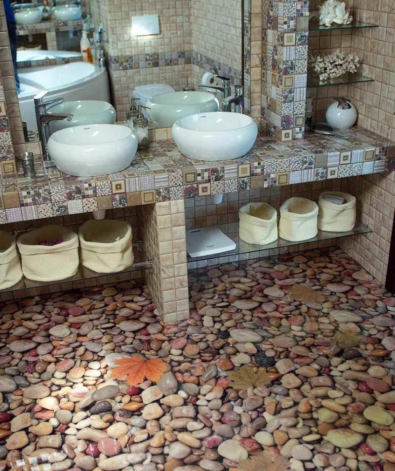 Необычный пол в ванной своими руками 70