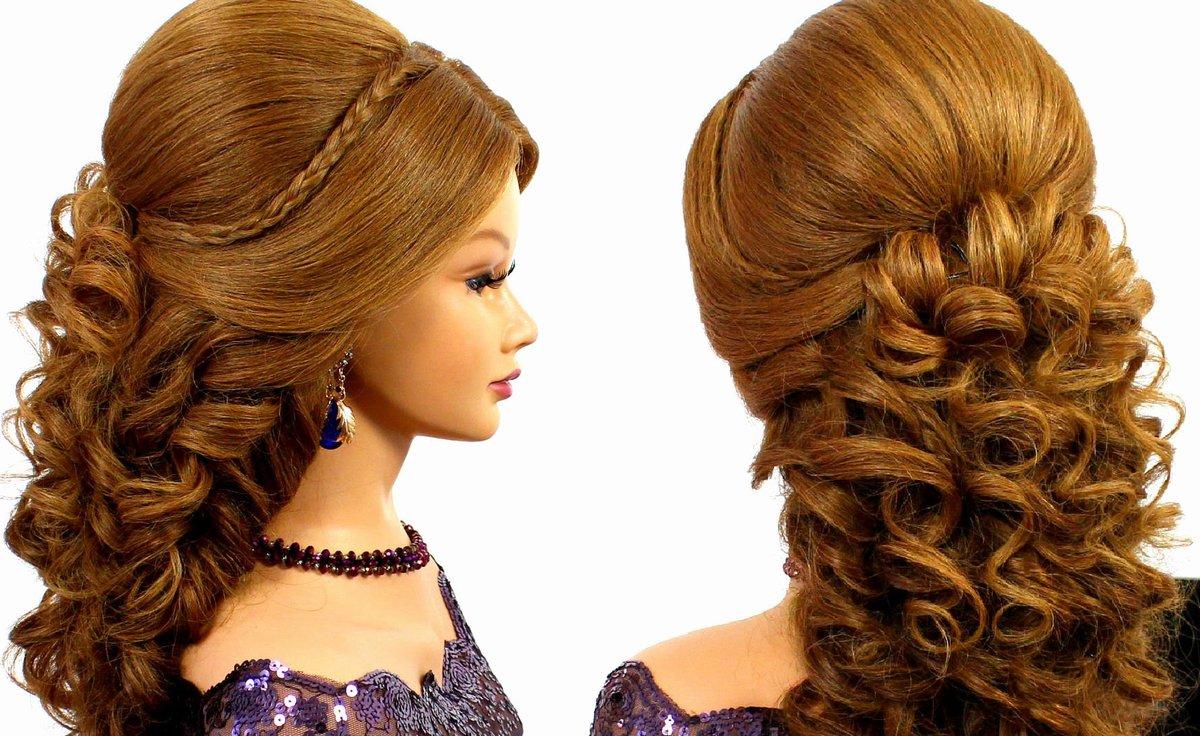Причёска на длинные волосы начёс и кудри