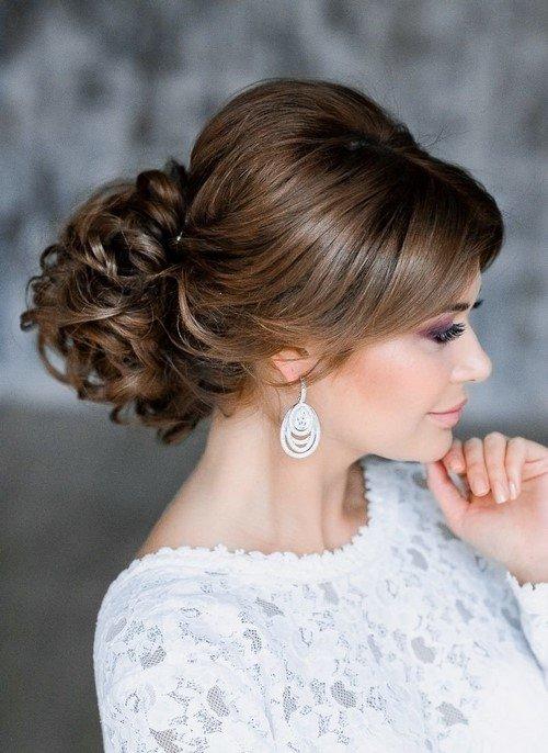 Свадебные причесок на средние волосы с челкой 2017