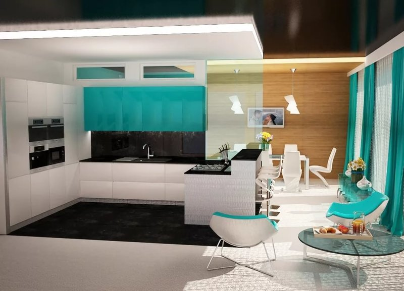 Необычный дизайн кухни гостиной