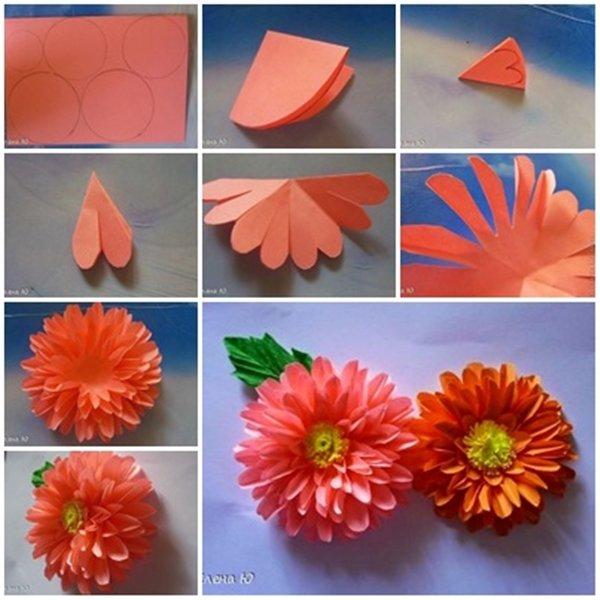 Как сделать из бумаги цветок из цветной бумаги своими руками