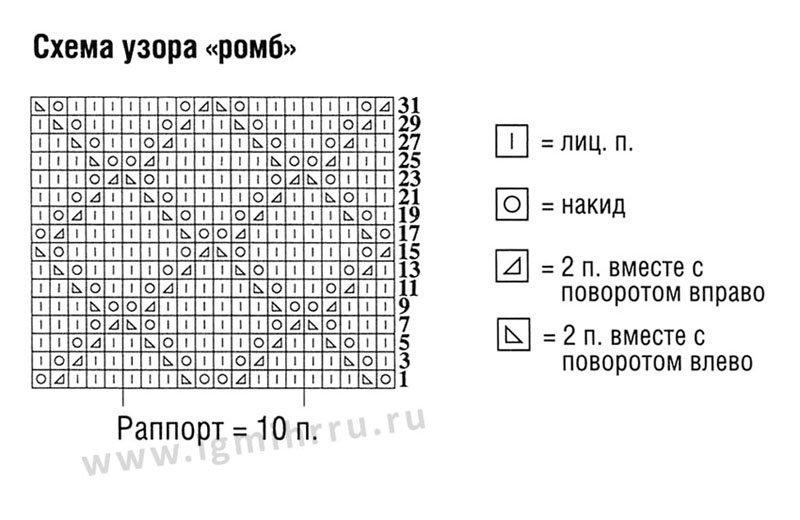 Схема вязание ажурного ромба