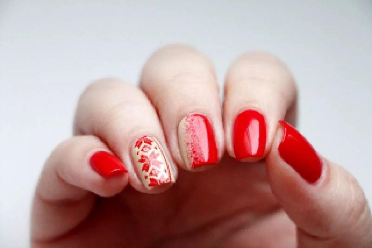 Рисунок на красном ногти фото