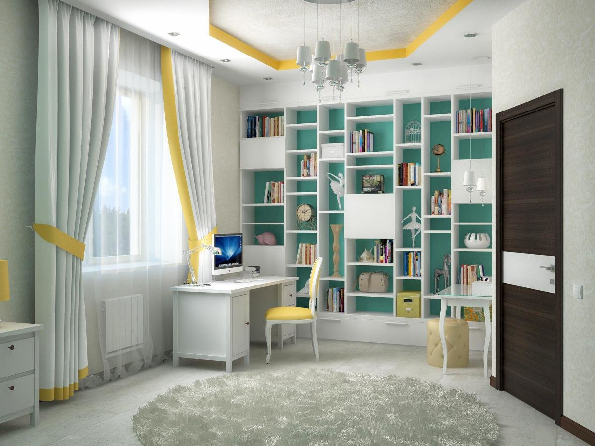 Детская комната для мальчика подростка в мятно серых тонах дизайн