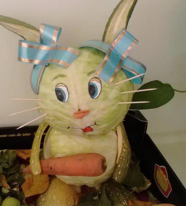 Поделка зайчик из капусты