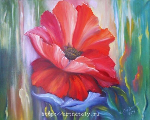 Картинка один цветок маслом