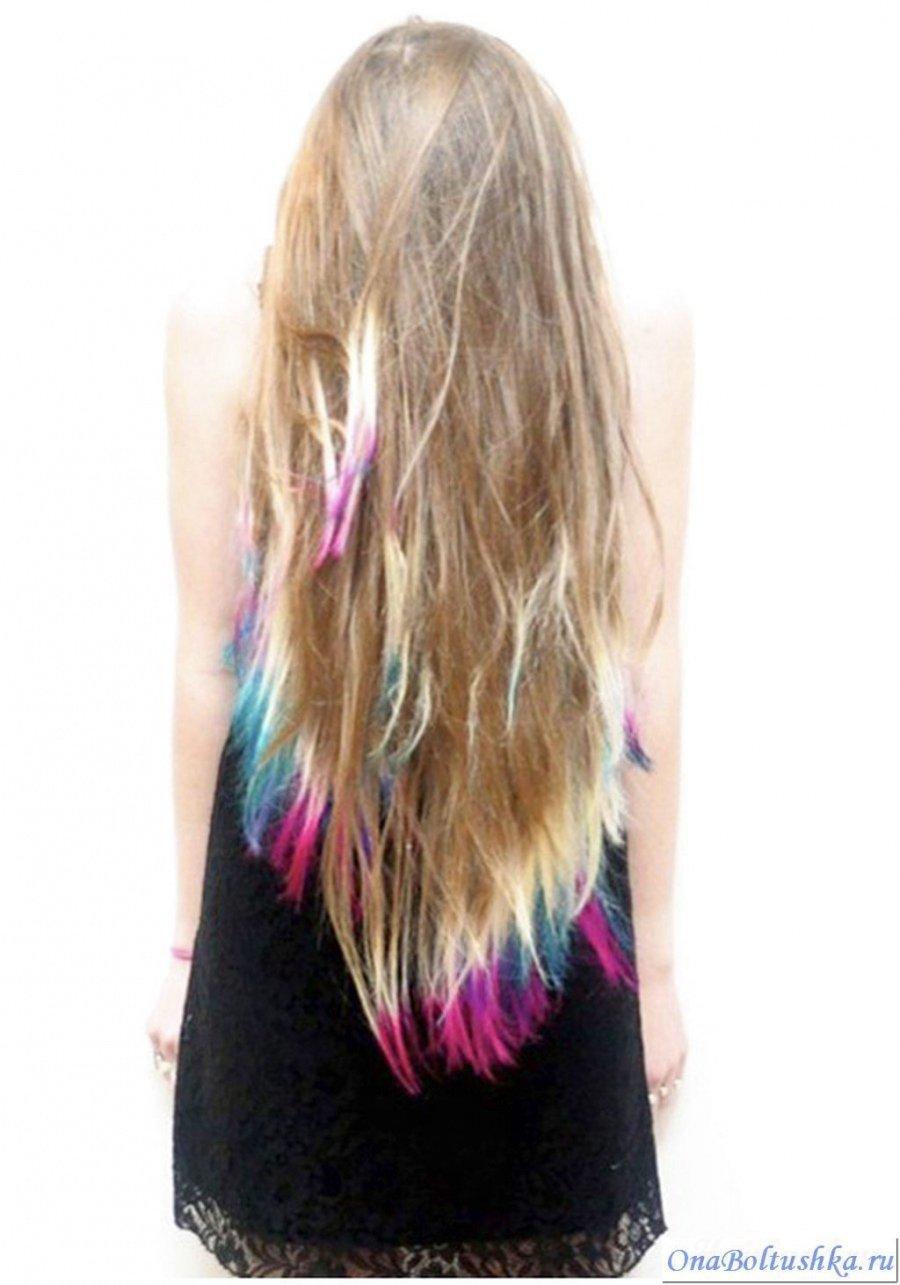 Фото девушки с покрашенными волосами на кончиках русые волосы