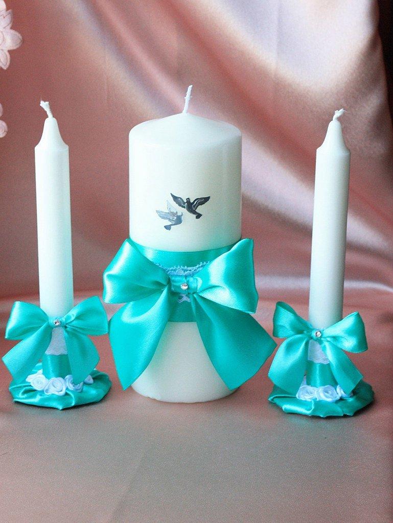 Свечи на свадьбу своими руками бирюзовые 10