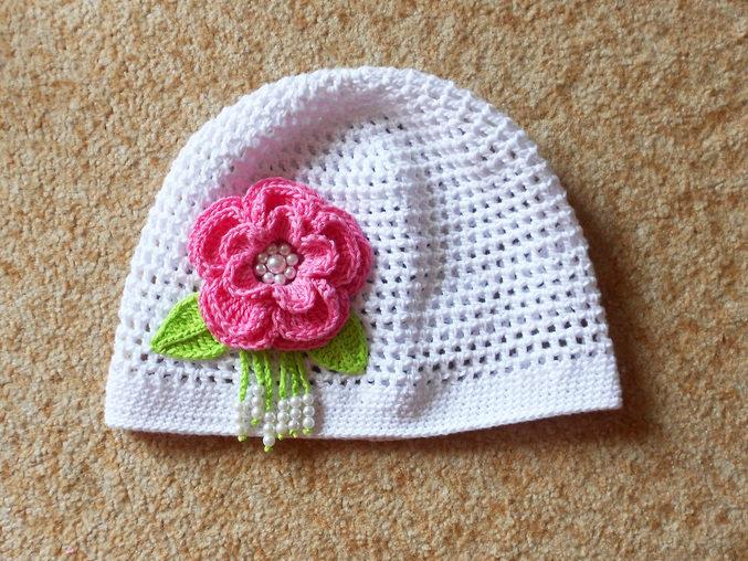 Вязание крючком летняя шапочка для девочки 2 года 55