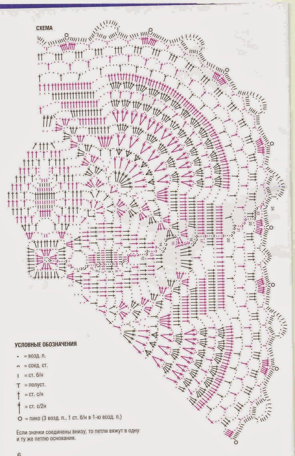 Копилка схем для вязания салфеток и других ажурных узоров крючком 43