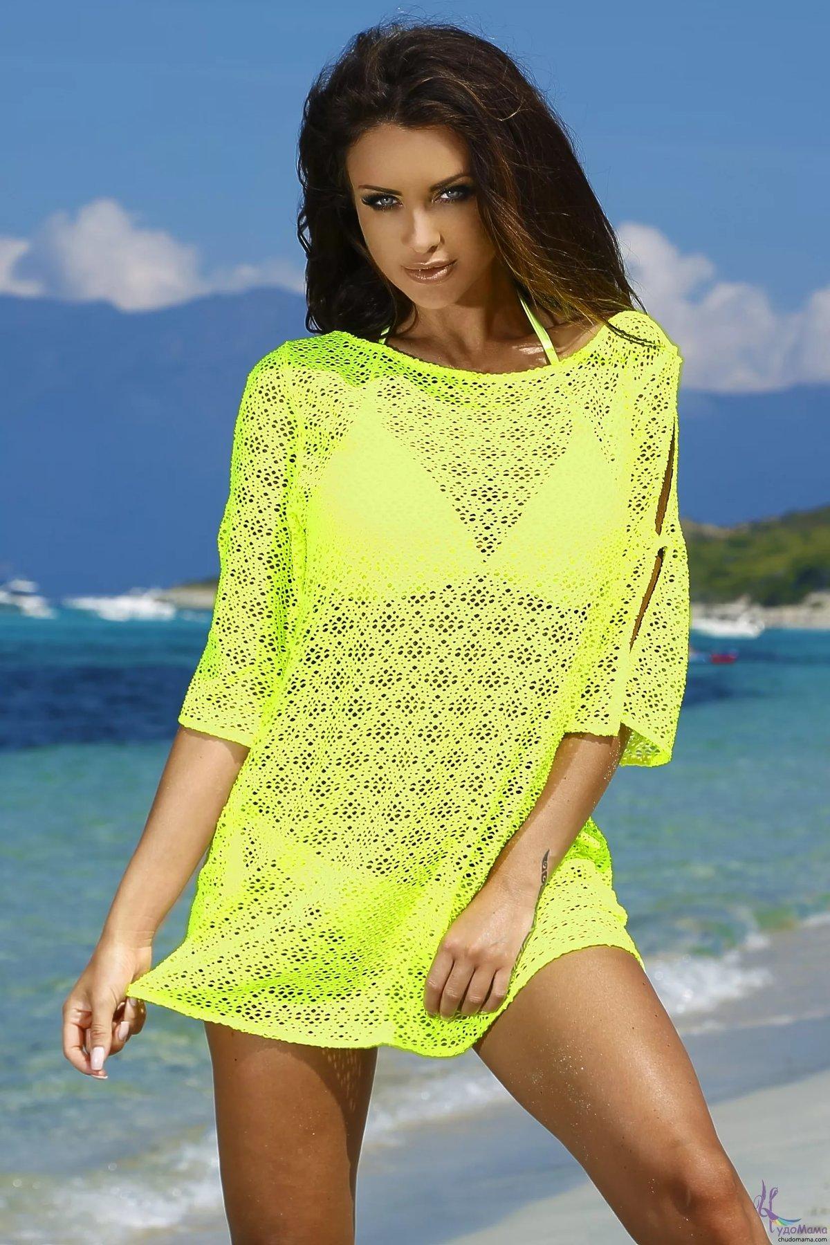 Вязание пляжное платье на купальник крючком