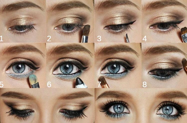 Фото макияжа для голубых глаз повседневный