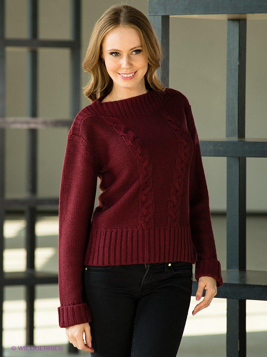 Пуловер бордово-красный
