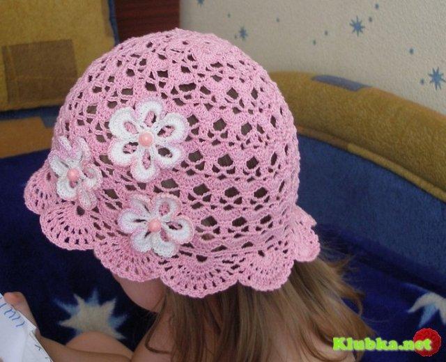 Вязание крючком летняя шапочка для девочки 2 года 12