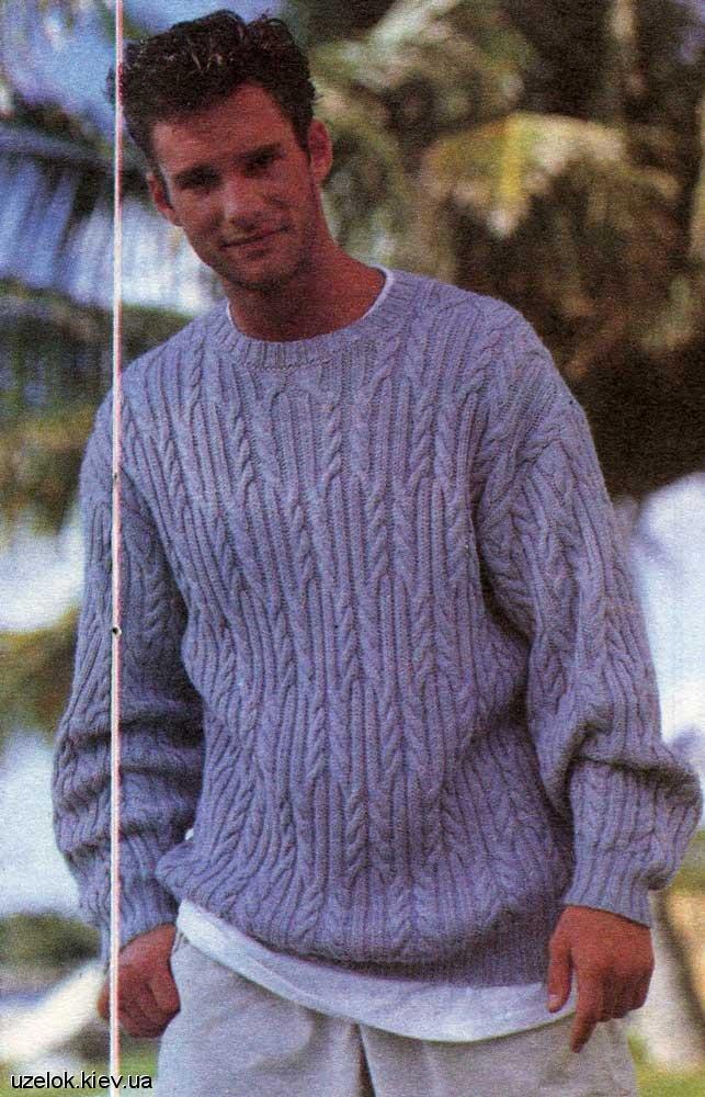 Вязание на спицах мужского пуловер 434