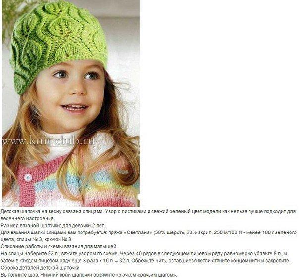 Описание вязания шапочки для девочки на спицах 989