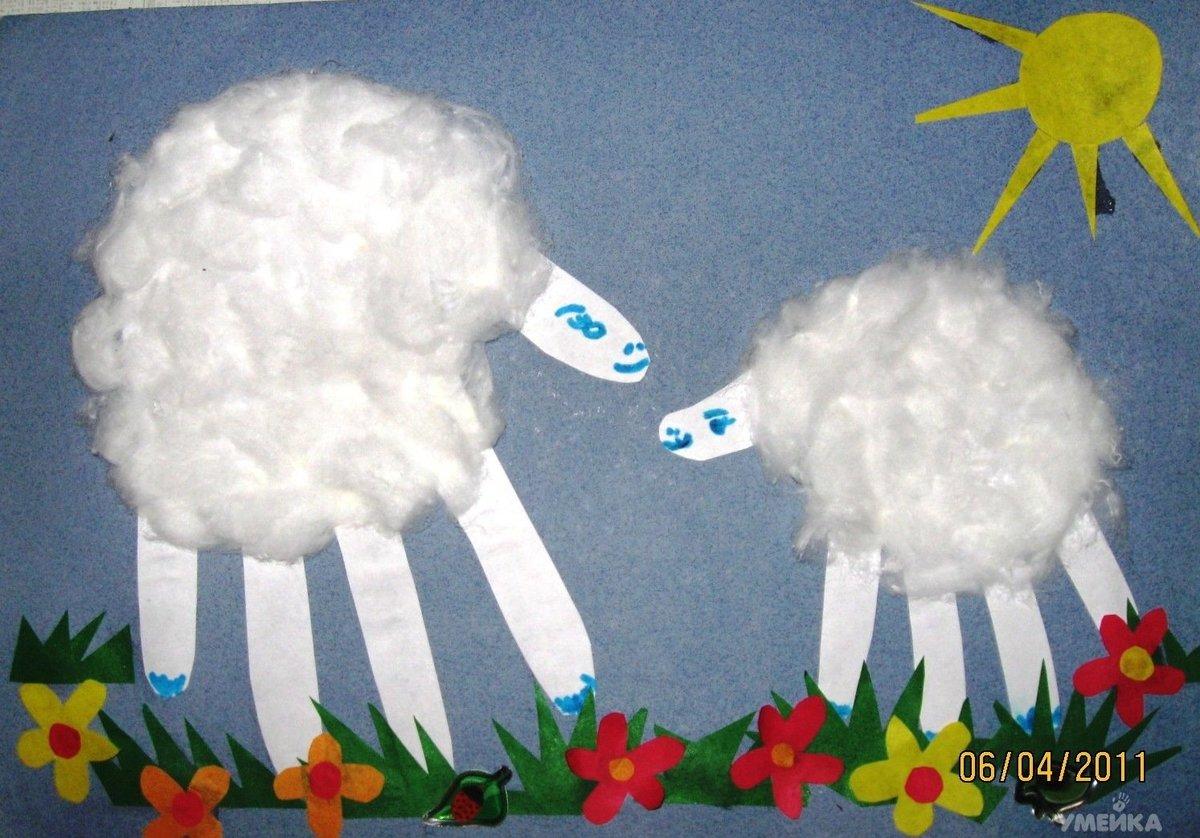 Аппликация из ватных палочек и ватных дисков для детей 18