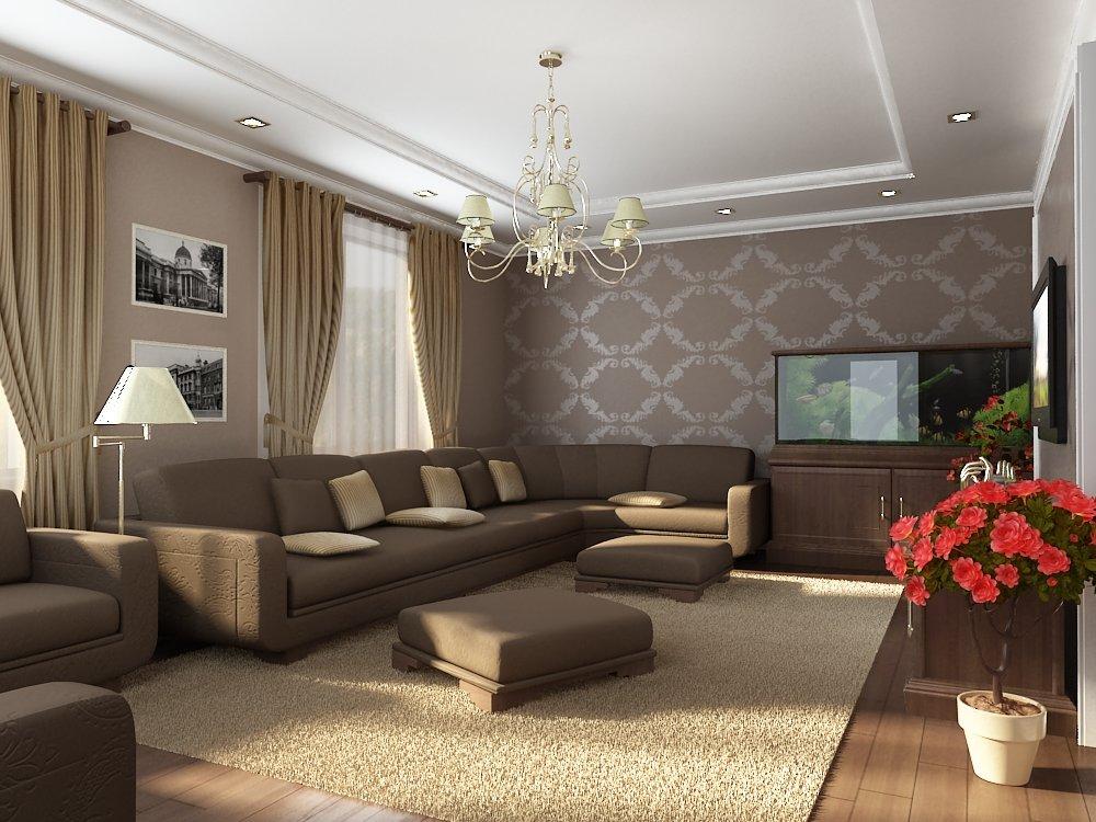 Интерьер зала в частном доме своими руками