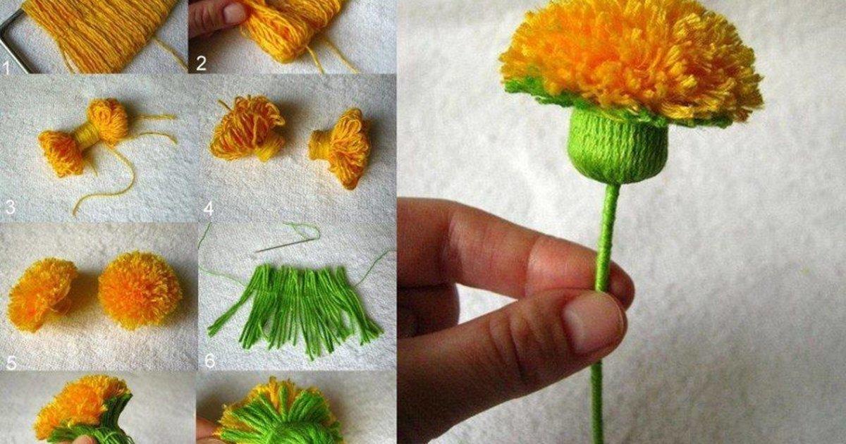 Поделка из пряжи цветы