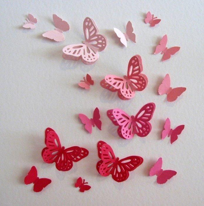 Объемные бабочки из бумаги на стену своими руками трафареты