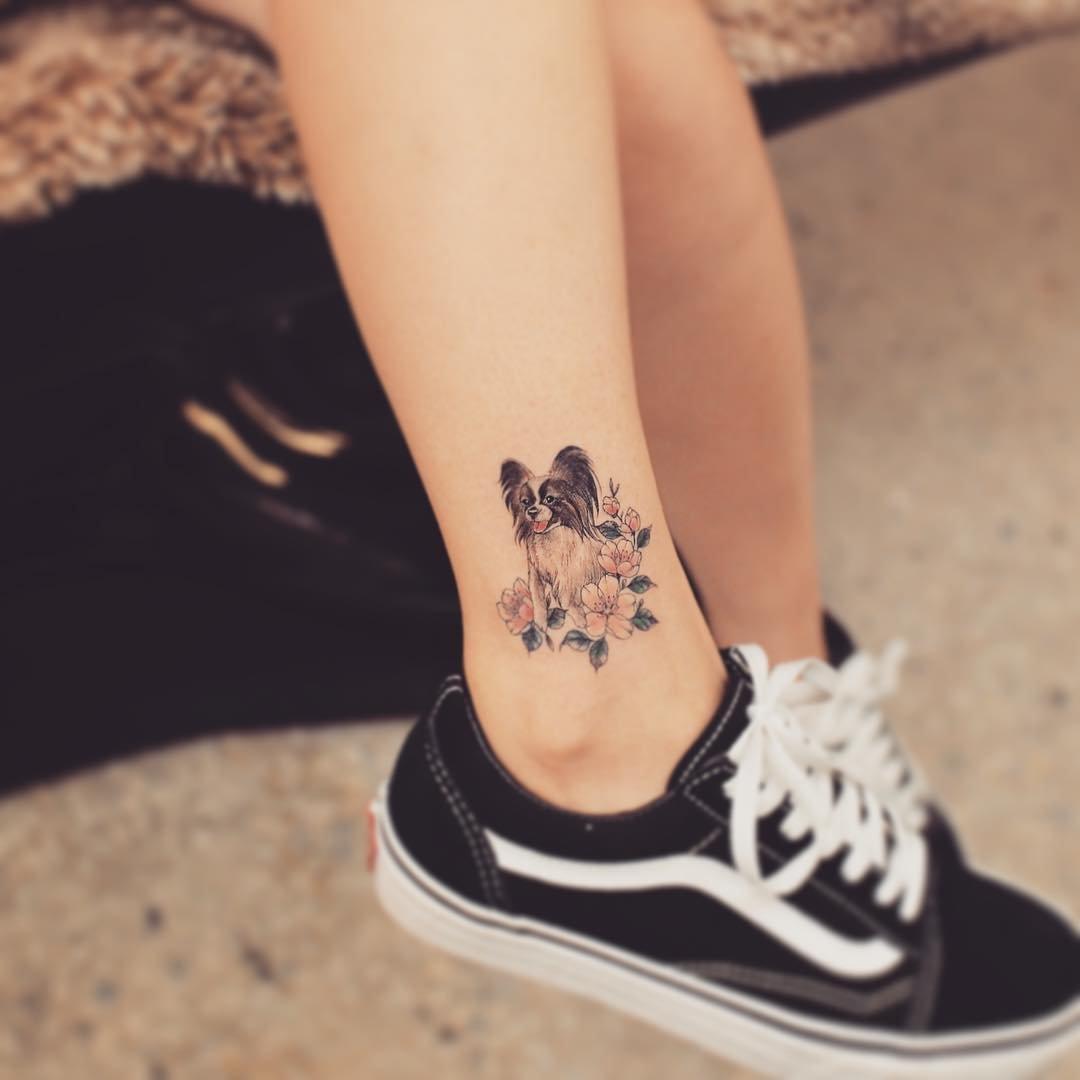 Модное тату для девушек фото на щиколотку