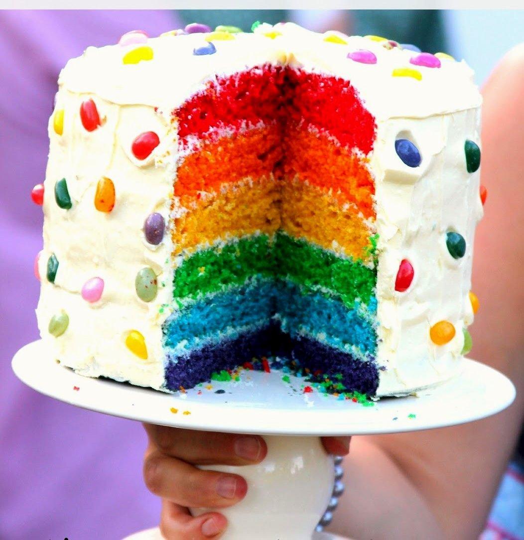 Как сделать цветной торт фото