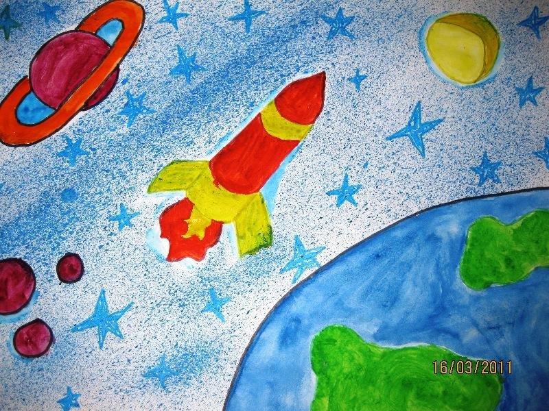 Рисунки о космосе для детей 3 класса