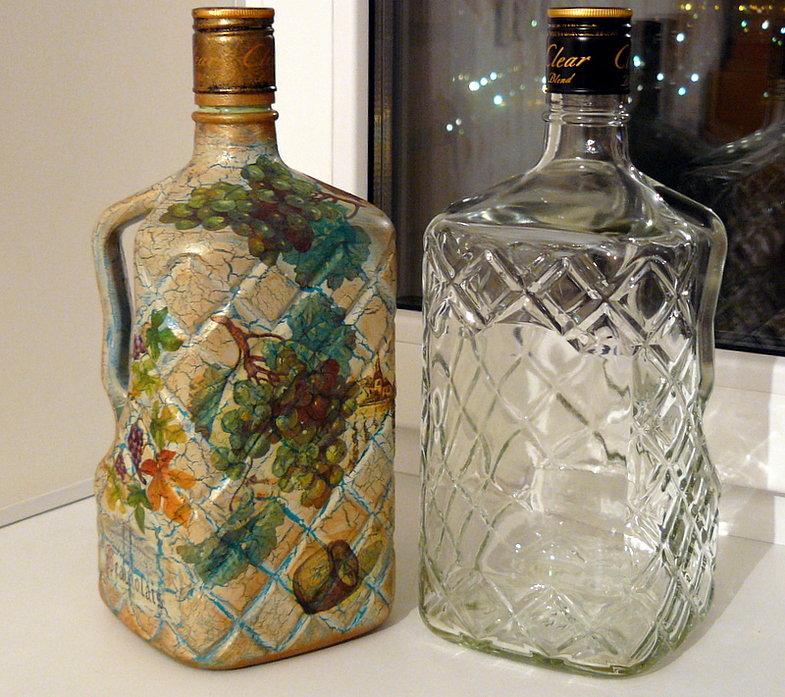 Украшаем стеклянных бутылок своими руками 49