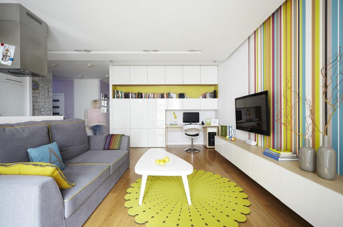 Дизайн малогабаритной однокомнатной квартиры студии 25 кв.м с балконом