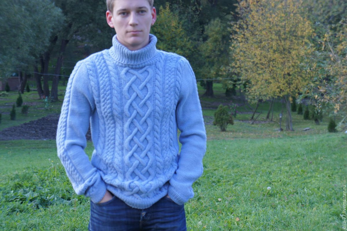 Вязание мужского свитера с аранами спицами 888