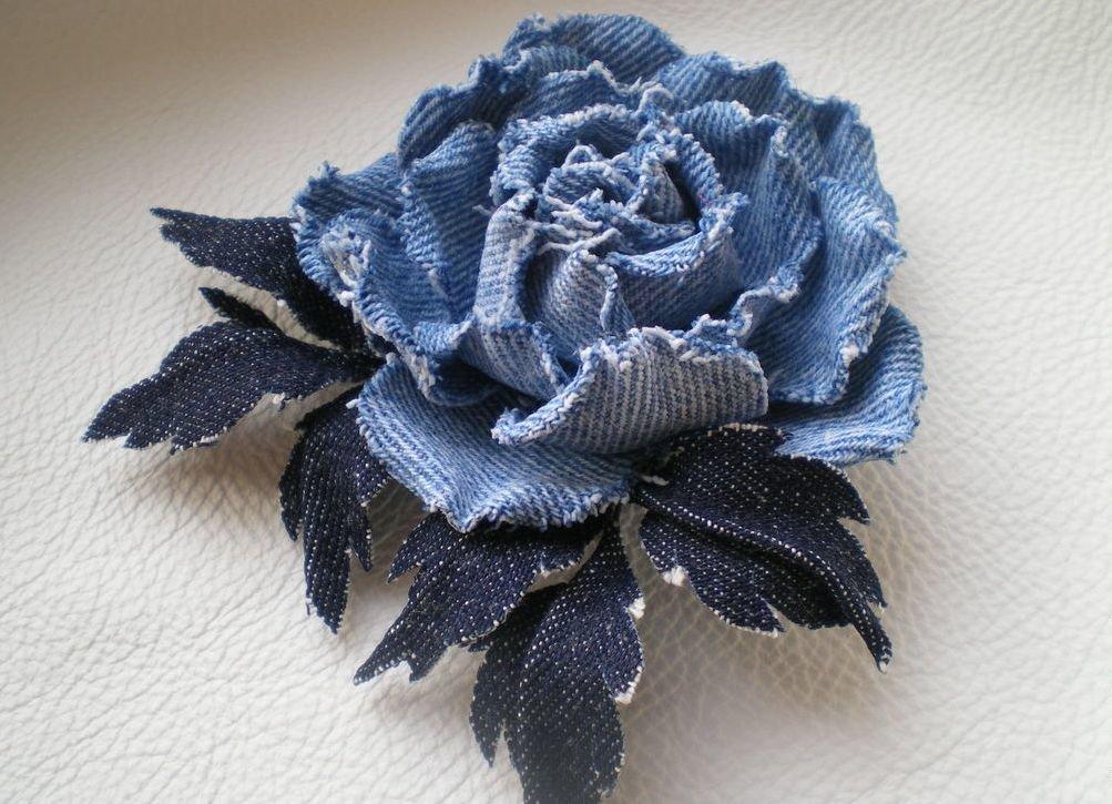 Розы из джинсовой ткани своими руками 6