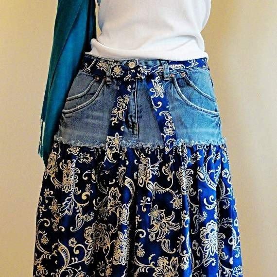 Как сделать юбку из джинсы