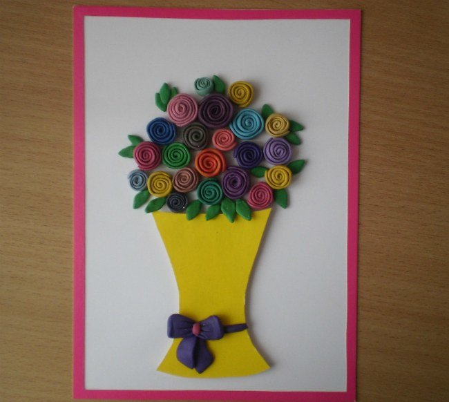 Поделка букет цветов из пластилина 2