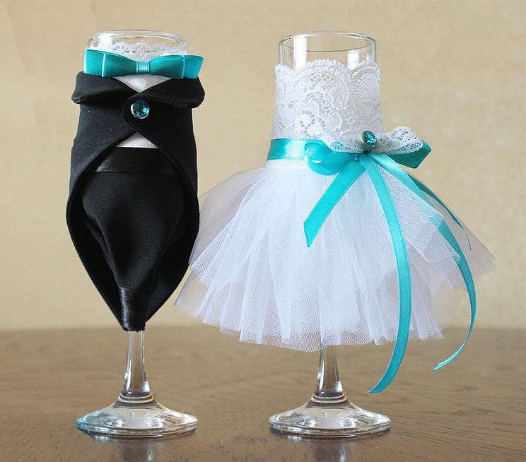 Свадебные бокалы своими руками фото пошагово жених невеста 16