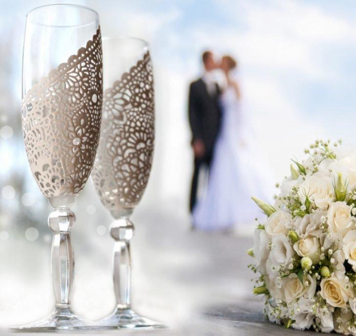 Свадебные бокалы с кружева своими руками