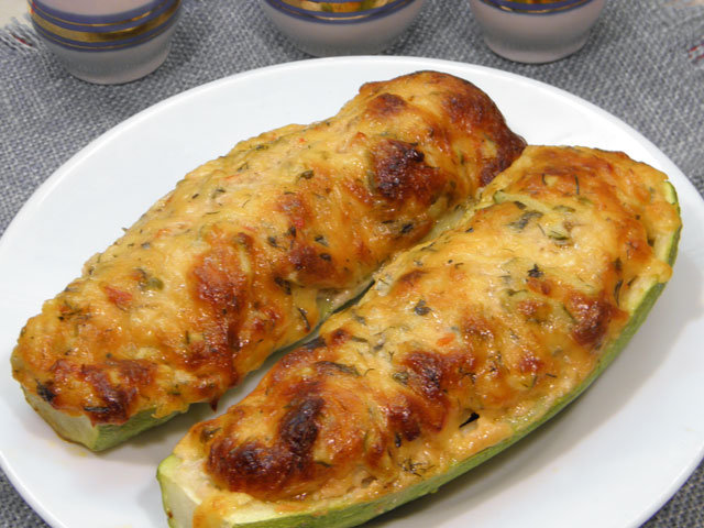 Рецепт кабачки фаршированные лодочкой запеченные в духовке