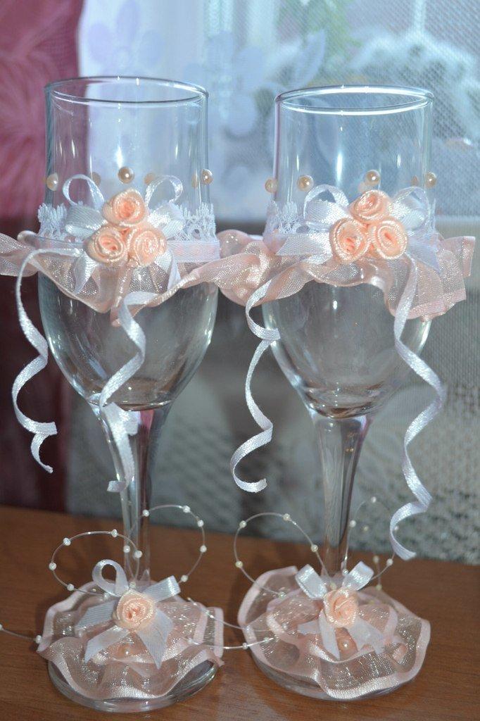 Свадебный декор бокалов своими руками мастер класс 91
