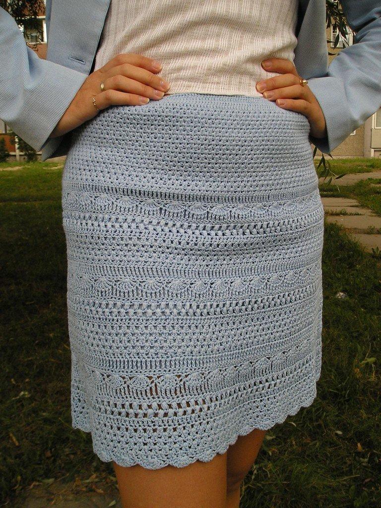 Как связать теплую юбку с крючком